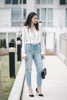 vertical striped white blouse mom jeans