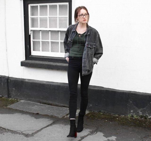washed black denim jacket leggings boots
