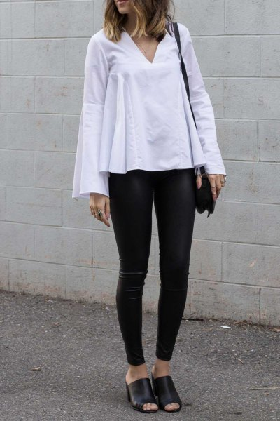 white bell sleeve top leather leggings