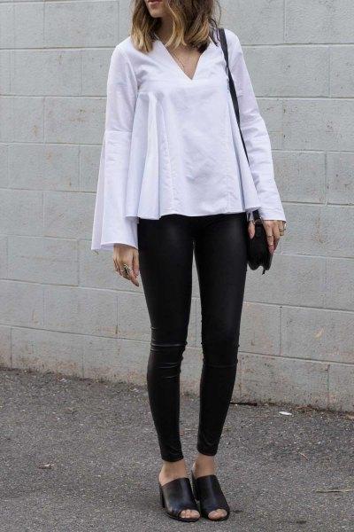white bell sleeve top leather leggings