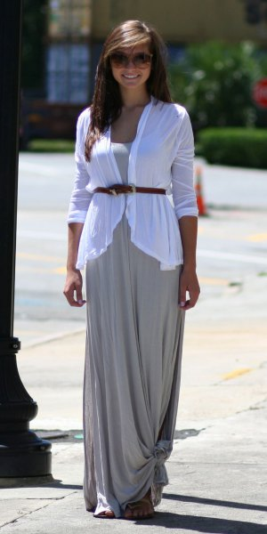 white belted cardigan grey maxi dress