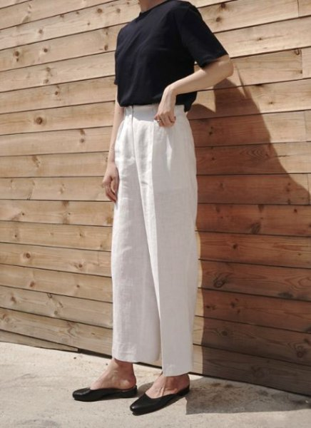 white black top high waisted linen pants