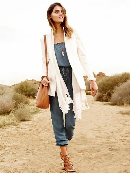 white blazer knit scarf chambray jumpsuit