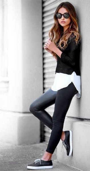white blouse cropped sweater black leather shoes