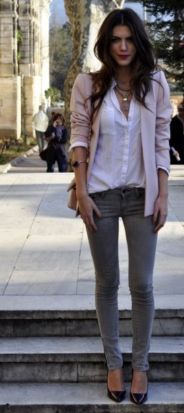white button up shirt beige blazer