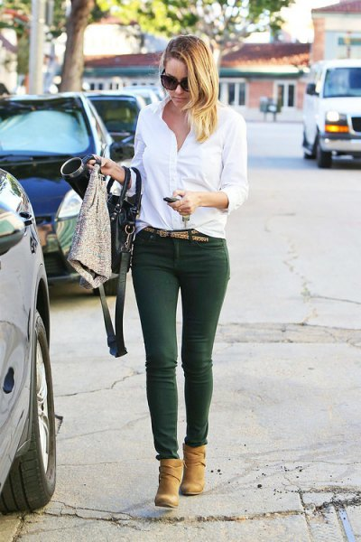 white button up shirt forest green pants