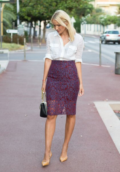 white button up shirt high waisted lace skirt