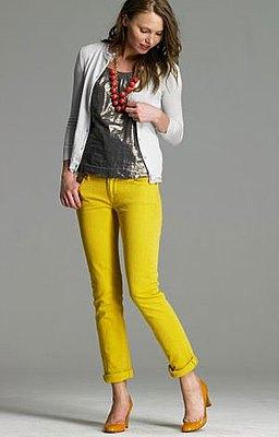 white cardigan mustard heels