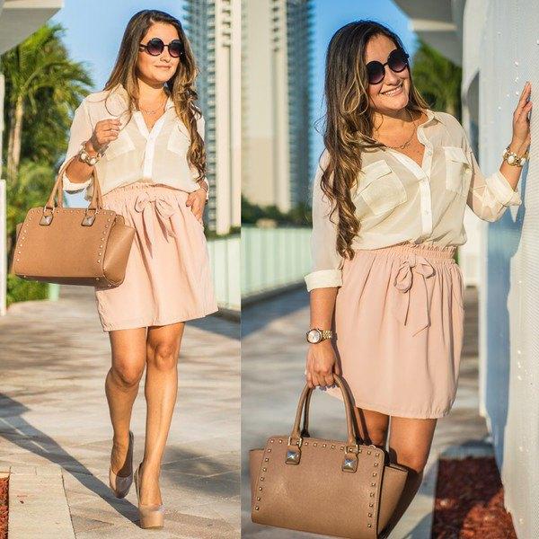 white chiffon blouse high waisted pink skirt