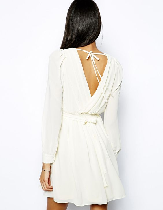 white chiffon dress open back