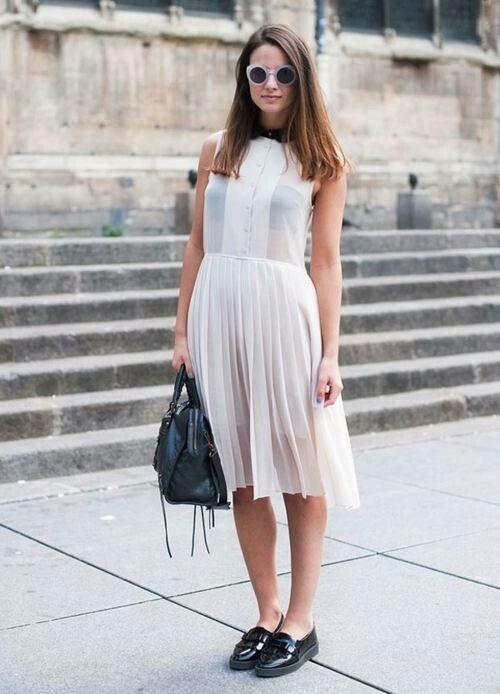 white chiffon dress pleats
