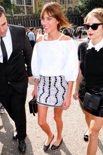 white cold shoulder blouse pencil skirt