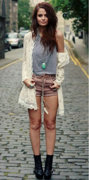 white crochet cardigan grey tank top shorts