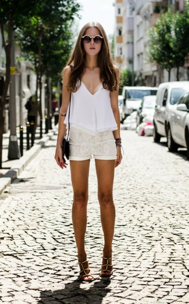 white deep v neck tunic top lace shorts