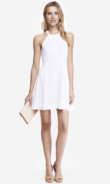 white dress nude heeled sandals
