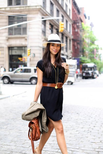 white felt hat brown belt black shirt dress