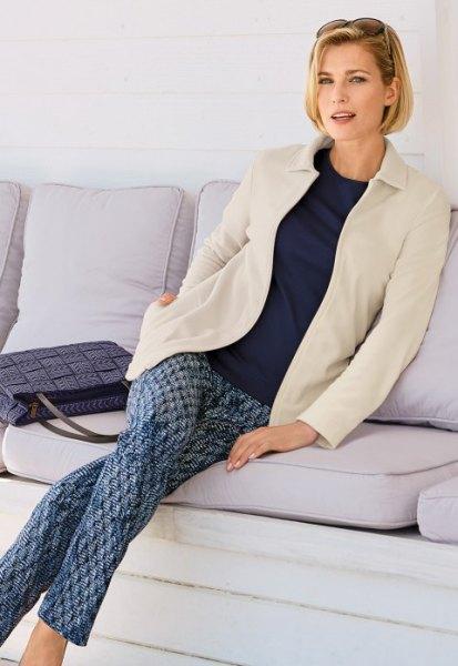 white fleece blazer print pants