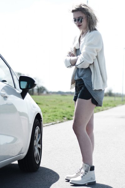 white knit cardigan denim shorts outfit