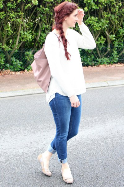 white knit sweater cuffed jeans pink ballet flats