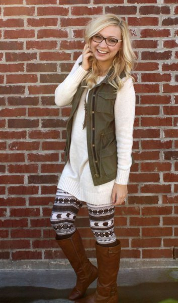 white knit sweater dress printed leggings