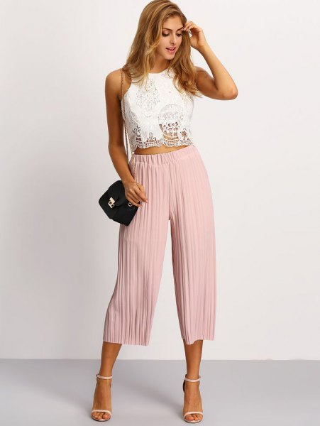 white lace crop top pale pink pleaded culottes