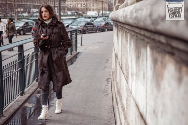 white leather boots black faux fur coat