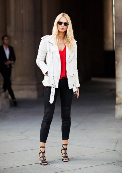 white leather jacket red deep v neck vest top