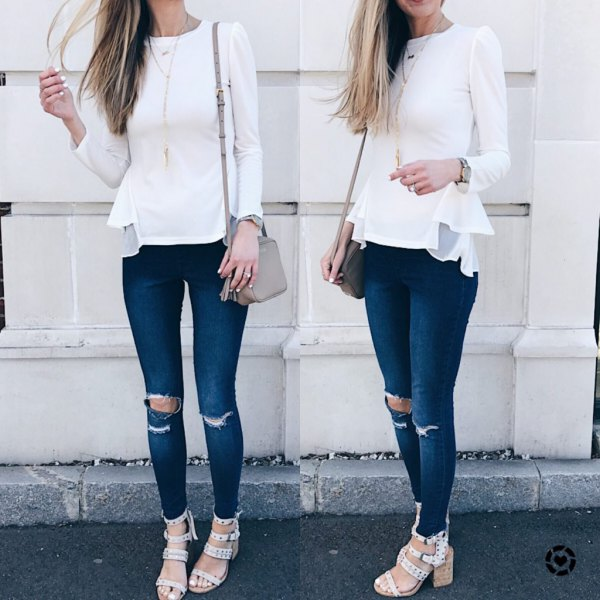 white long sleeve peplum top ripped jeans