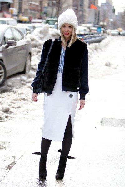 white midi pencil skirt black fleece coat in winter