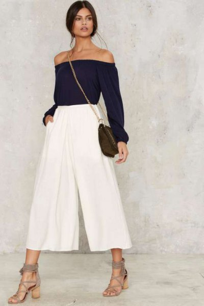white pleaded culottes off shoulder black top