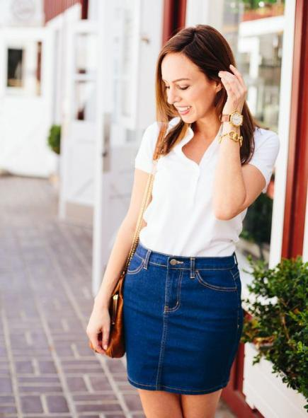 white polo shirt denim skirt outfit