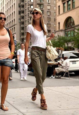 white t shirt low waisted chinos