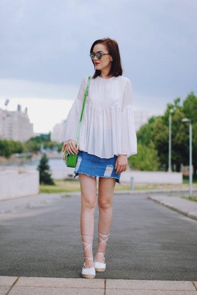 white top denim skirt strappy heels