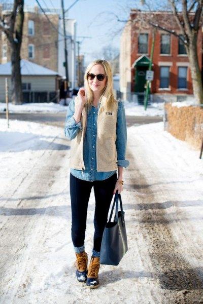 white vest denim shirt cuffed jeans