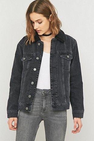 white vest top grey jeans black denim jacket