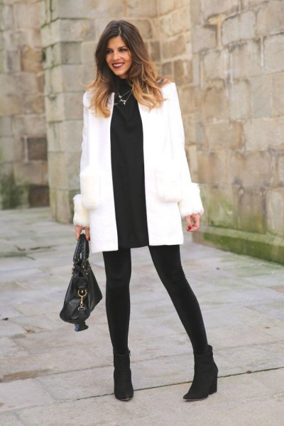 white wool coat black sweater dress