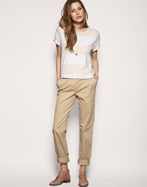 wide striped t shirt beige chinos