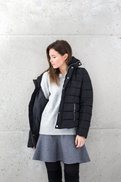 wool skirt black puffer jacket