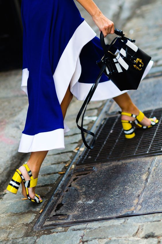 yellow blue outfit sandals