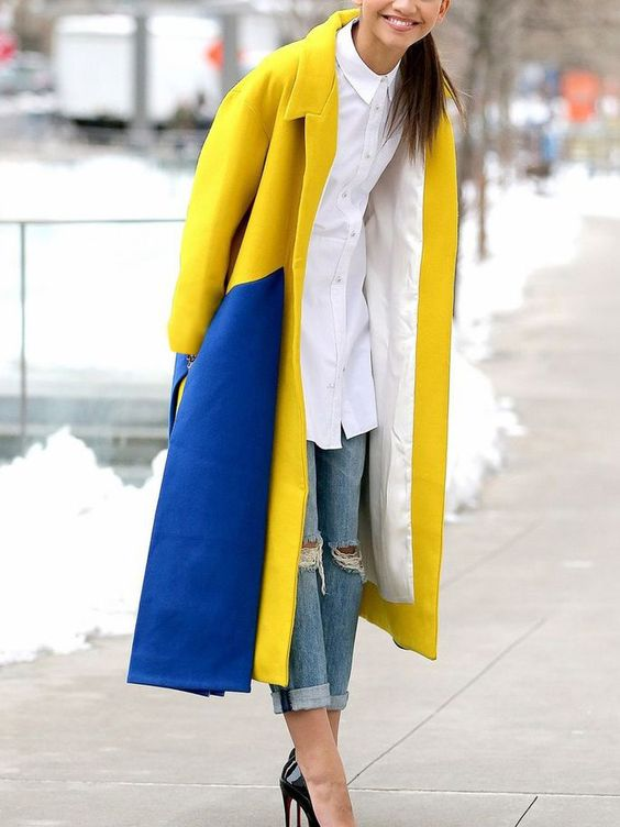 yellow blue outfit two colored coat