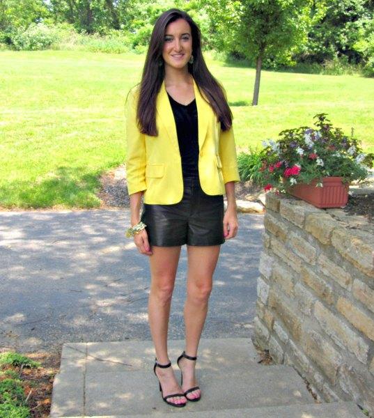 yellow jacket black leather shorts