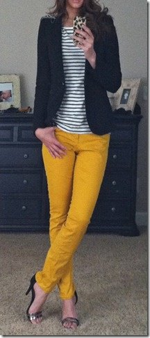 yellow skinny jeans black and white striped tee blazer