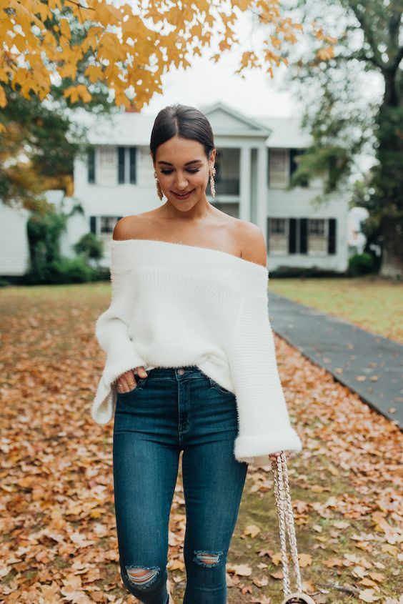 white fluffy sweater off the shoulder