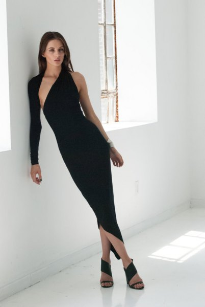 asymmetric black maxi bodycon dress