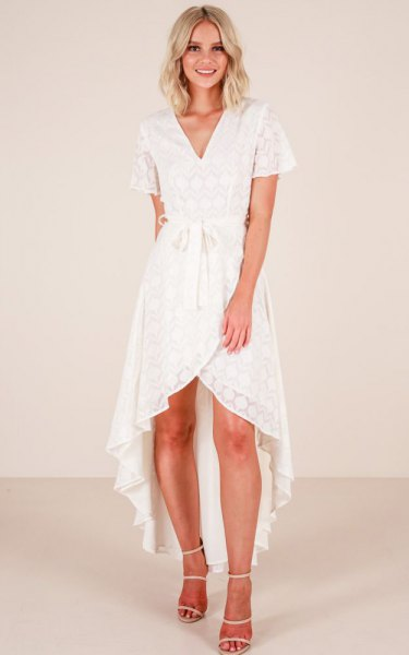asymmetric white lace wrap dress
