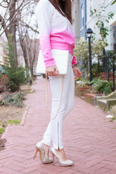 baby blue knit sweater white skinny pants outfit
