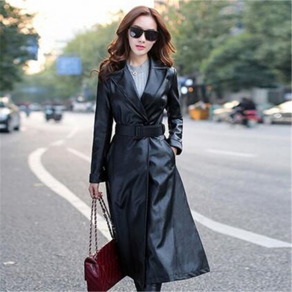 belted black leather trench coat grey knit sweater