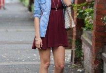 best burgundy skater dress outfit ideas