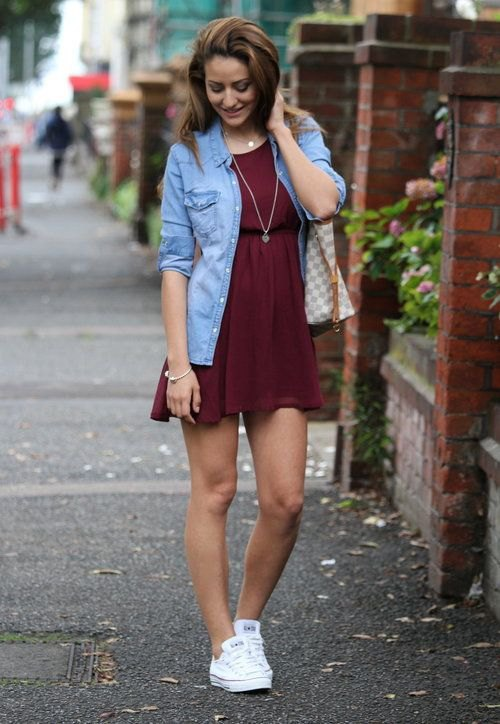 best burgundy skater dress outfit ideas