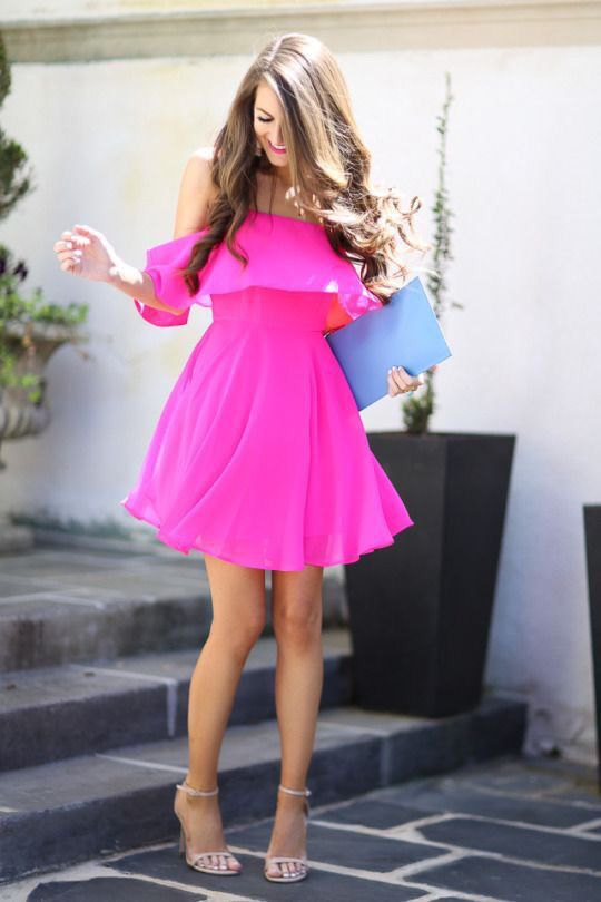 best neon pink dress outfit ideas
